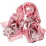 Digital Printed Silk Chiffon Scarf - Lily Print Mulberry Silk Scarf PS1- Pink Lily