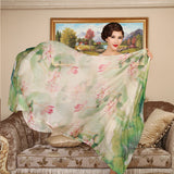 Digital Printed Silk Chiffon Scarf - Lotus Print Mulberry Silk Scarf PS1- Lotus