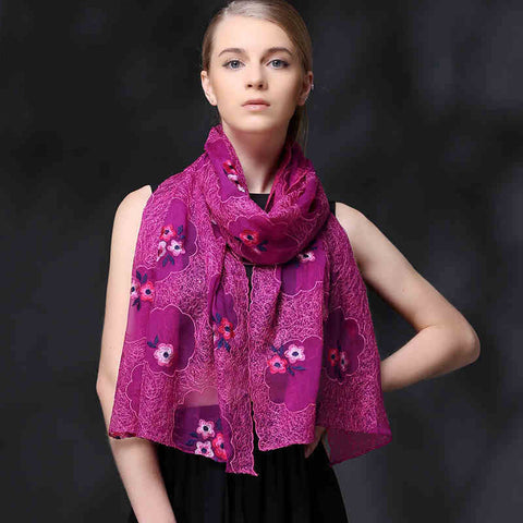 PINK FLORAL EMBROIDERED MULBERRY SILK SCARF - HANDMADE FLORAL EMBROIDERED SILK SCARF - FLORAL SILK SCARF -2016O1