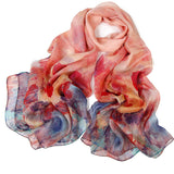 Digital Printed Silk Chiffon Scarf - Poppy Flower Print Mulberry Silk Scarf PS1- Poppy Flower