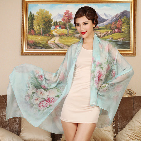 Digital Printed Silk Chiffon Scarf - Rose Floral Mulberry Silk Scarf PS1- Rose Scarf (Pale Turquoise)