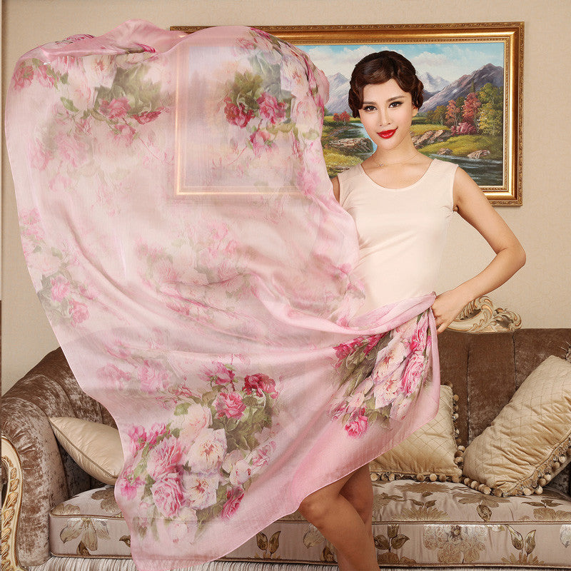 Digital Printed Silk Chiffon Scarf - Rose Floral Mulberry Silk Scarf PS1- Rose Scarf (Pink)