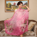 Digital Printed Silk Chiffon Scarf - Rose Floral Mulberry Silk Scarf PS1- Rose Scarf (Fuchsia)