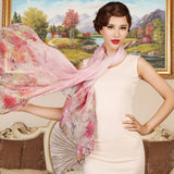 Digital Printed Silk Chiffon Scarf - Floral Mulberry Silk Scarf PS1- Scattered Flowers