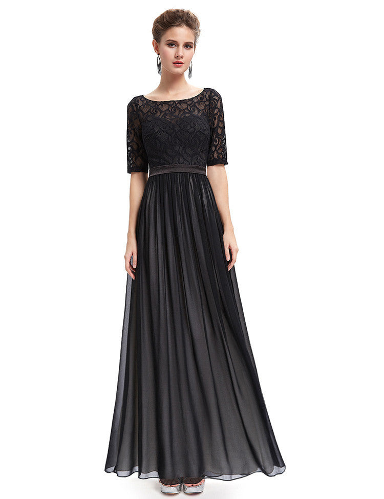 Open Back Black Maxi Dress With Boat Neck And Elbow Sleeves Mx46