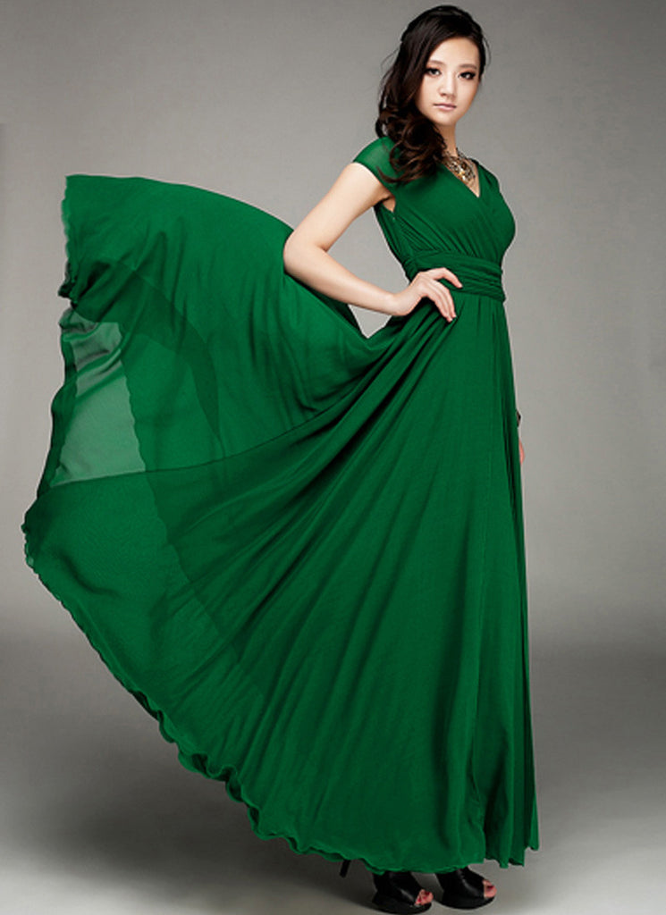 Cap Sleeve Green Maxi Dress with V Neck & Ruched Waist Yoke