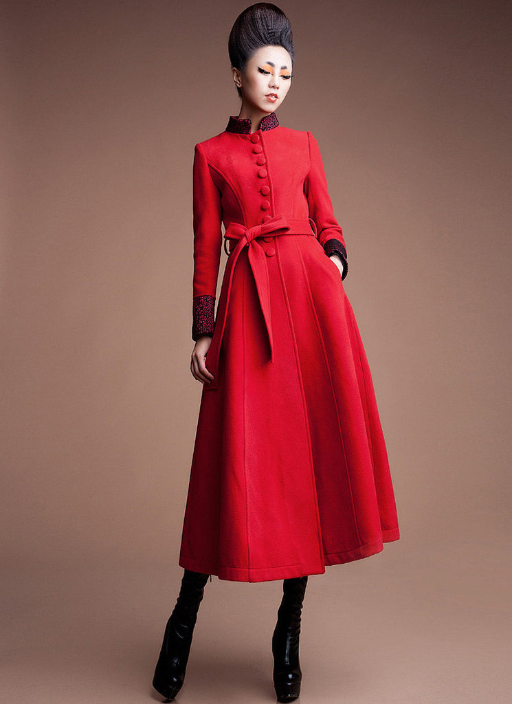 Red Cashmere Wool Coat with Stand Collar & Lace Details
