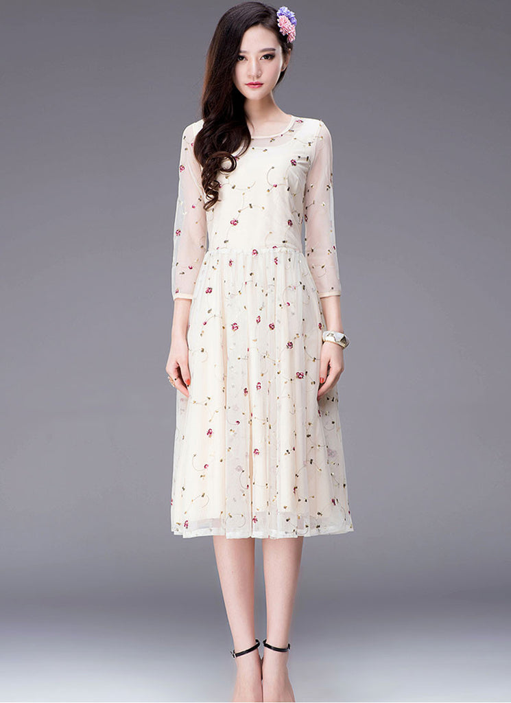 Floral Embroidered Beige Tea Dress with 3 Quarter Sleeves