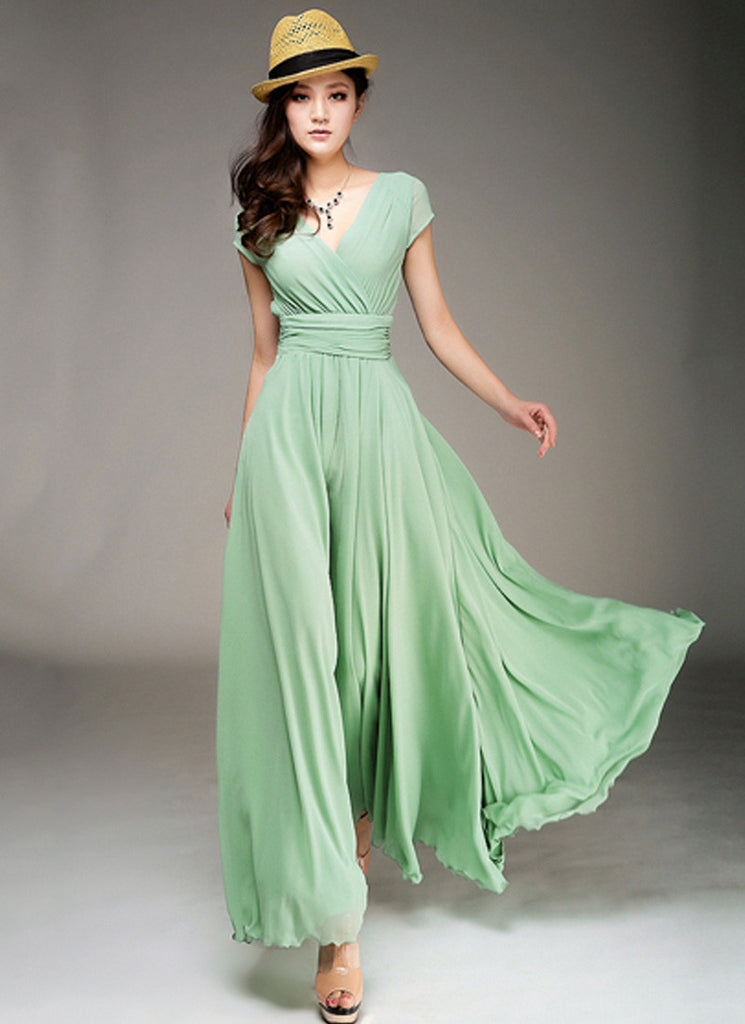 Cap Sleeve Light Green Maxi Dress with V Neck & Ruched Waist Yoke