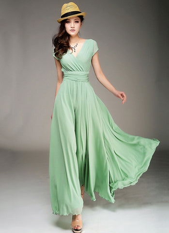 Cap Sleeve Light Green Maxi Dress with V Neck & Ruched Waist Yoke RM157