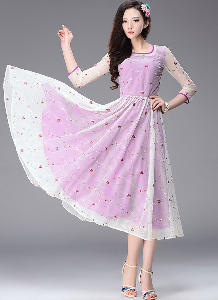 Floral Embroidered Orchid Tea Dress with 3 Quarter Sleeves