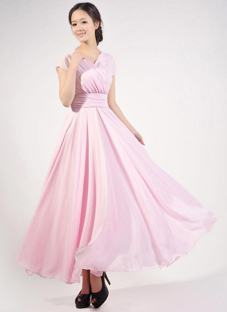 Cap Sleeve Light Pink Maxi Dress with V Neck & Ruched Waist Yoke
