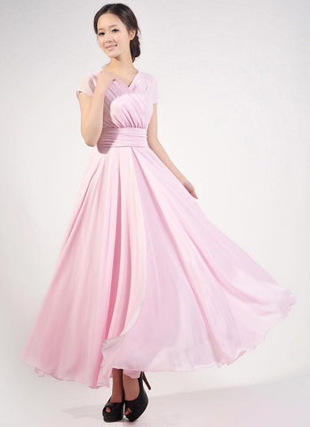 Cap Sleeve Light Pink Maxi Dress with V Neck & Ruched Waist Yoke RM157