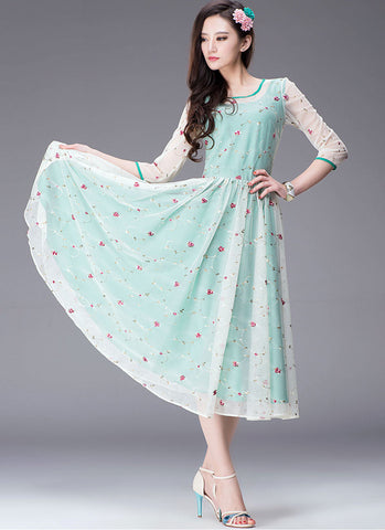 Floral Embroidered Turquoise Tea Dress with 3 Quarter Sleeves RM234