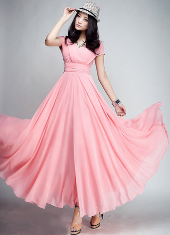 Cap Sleeve Light Coral Maxi Dress with V Neck & Ruched Waist Yoke RM157