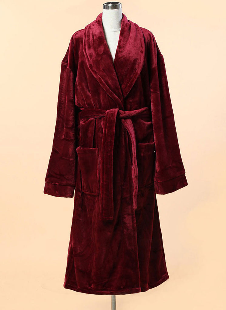 Extra Thick Micro Fiber Bathrobe - Soft Maroon Fleece Bathrobe w. Shawl Collar