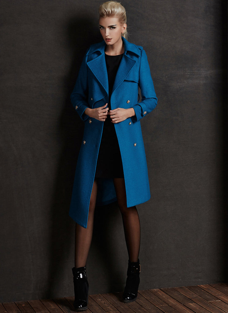 Deep Sky Blue Cashmere Wool Coat with Asymmetric Hem