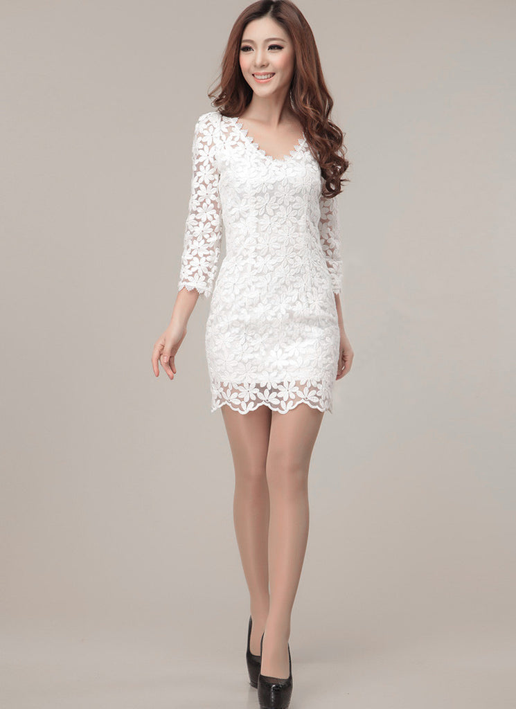 V Neck White Embroidered Lace Sheath Dress