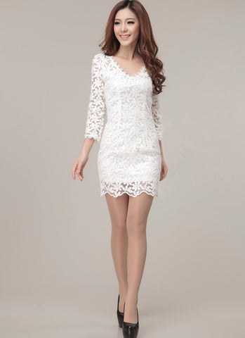 V Neck White Embroidered Lace Sheath Dress RD184