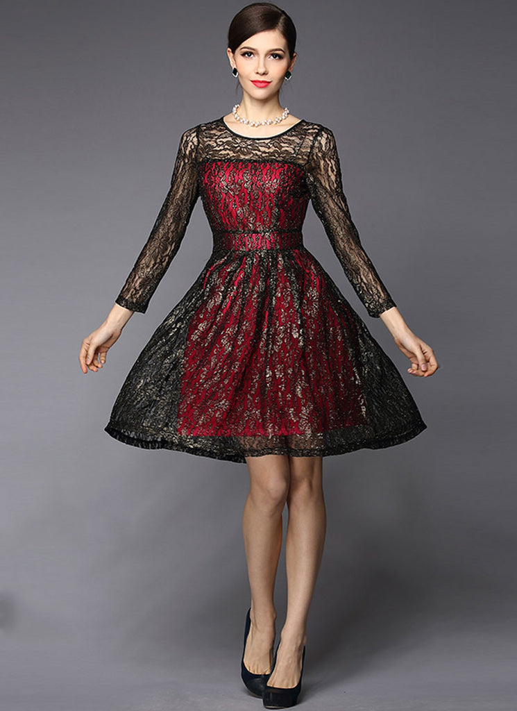 Gold Gilded Black Lace Fit and Flare Dress with Contrast Red Lining