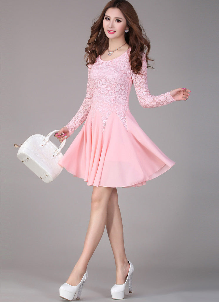 Pink Lace Fit and Flare Mini Dress with Long Sleeves