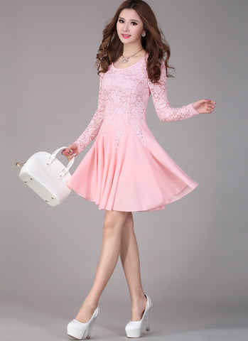 Pink Lace Fit and Flare Mini Dress with Long Sleeves R4