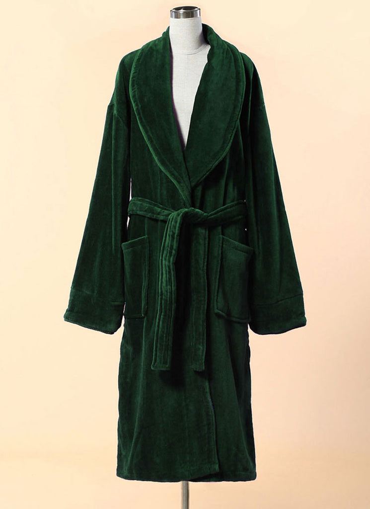 Extra Thick Green Velour Bathrobe - Shawl Collar Cotton Bathrobe with Piping