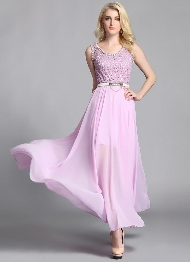 Violet Lace Chiffon Maxi Dress with Bead Embellishment