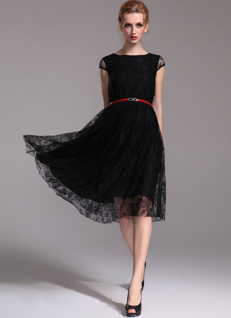 Black Lace Midi Dress with Cap Sleeves