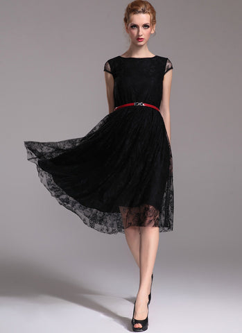 Black Lace Midi Dress with Cap Sleeves R24