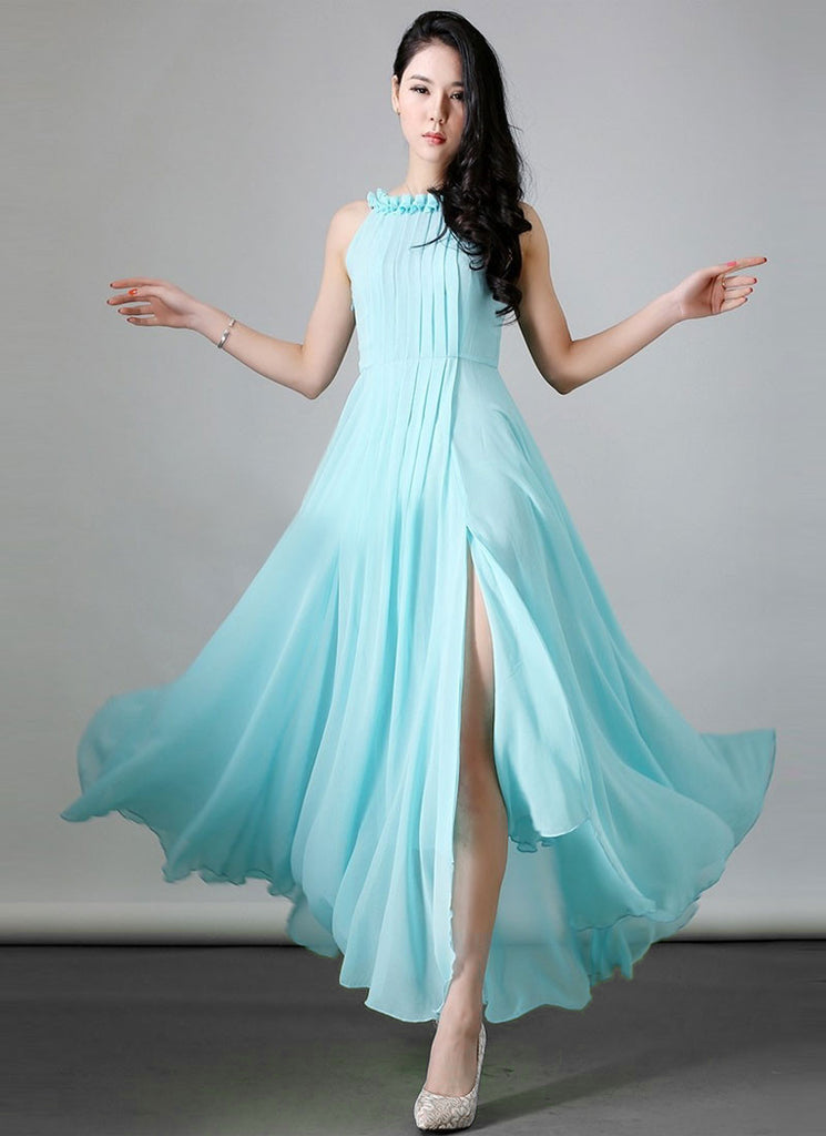 Pleated Turquoise Maxi Dress with Ruffled Neck and High Slit