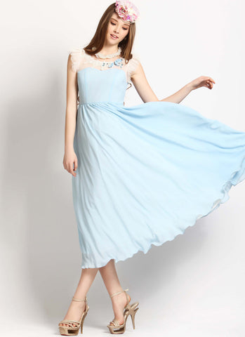 Light Blue Midi Dress with White Organza Ruffle Details RM89