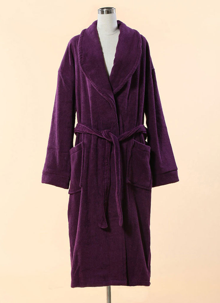 Extra Thick Purple Terry Bathrobe - 100% Cotton Shawl Collar Terry Cloth Bathrobe