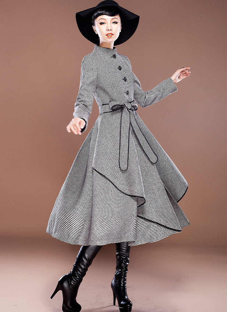 Houndstooth Wool Coat with Asymmetric Layered Hem