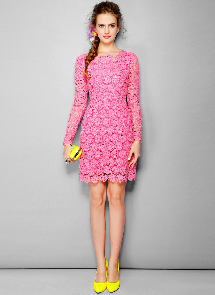 Long Sleeve Pink Lace Dress with Floral Scalloped Hem