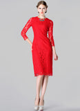 Red Lace Sheath Mini Dress with Eyelash Details