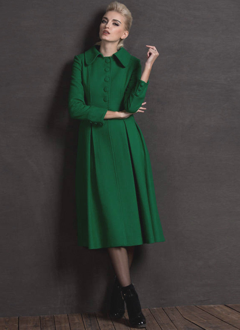 0858b4e39 Long Green Fit and Flare Cashmere Wool Coat RB62
