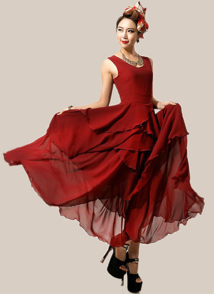 Asymmetric Burgundy Maxi Dress with Layered Skirt