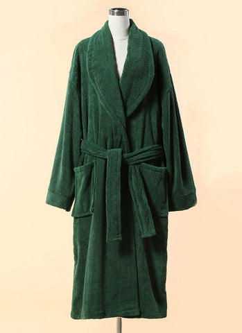 Extra Thick Green Terry Bathrobe - 100% Cotton Shawl Collar Terry Cloth Bathrobe