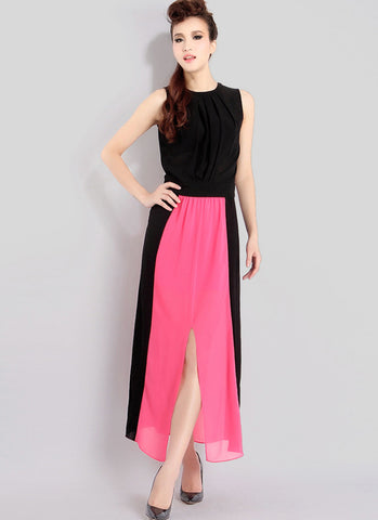 Black & Fuchsia Maxi Dress with Open Back & Front Slit RM23