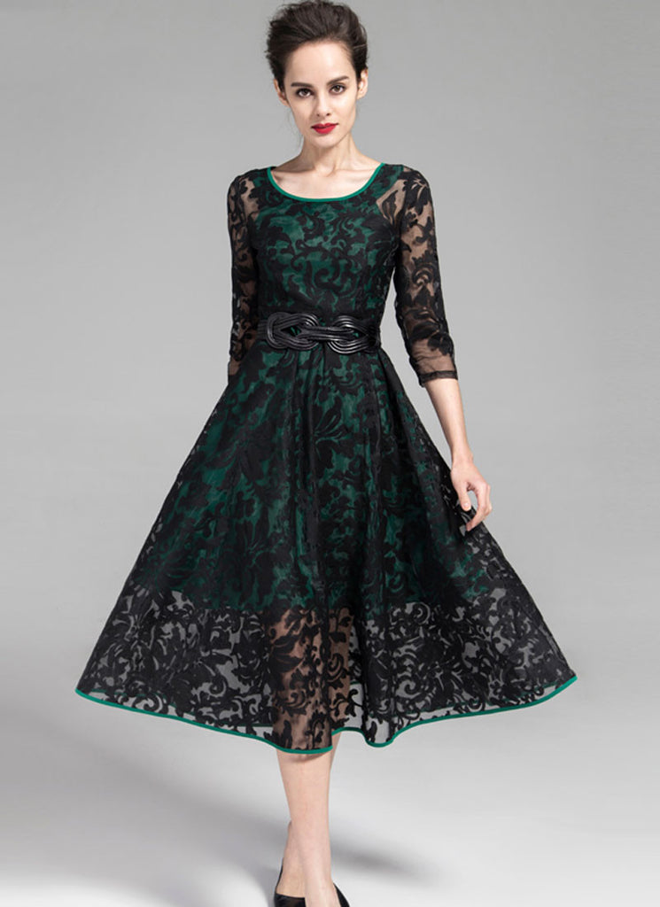 Black Embroidered Organza Lace Midi Dress with Green Piping and Lining