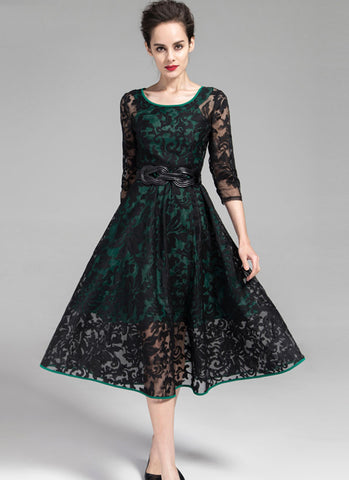 Black Embroidered Organza Lace Midi Dress with Green Piping and Lining RM202