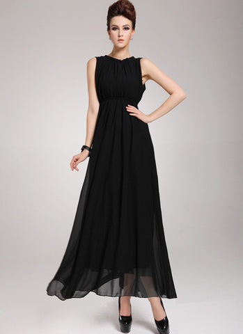 Black Maxi Dress with V Back RM 44