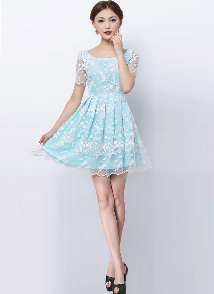 White Embroider Organza Lace Mini Dress with Aqua Lining