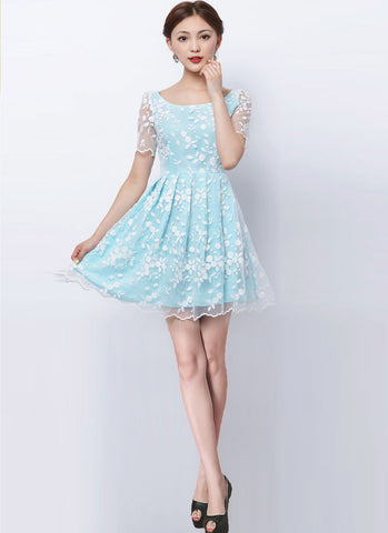 White Embroider Organza Lace Mini Dress with Aqua Lining RM221