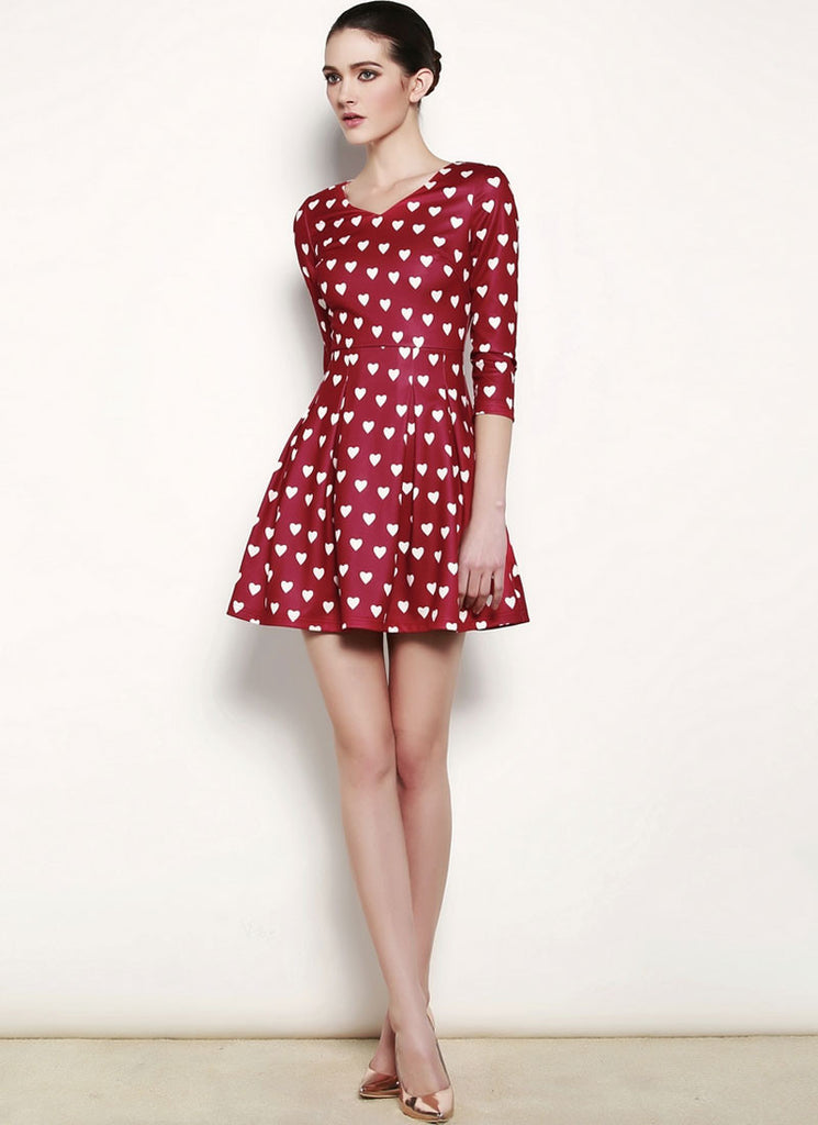 Heart Printed Burgundy Chiffon Mini Fit and Flare Dress
