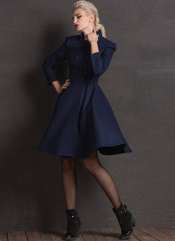 Double Breasted Navy Fit N Flare Navy Cashmere Wool Coat RB67