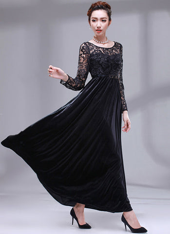 Long Sleeved Black Lace Velvet Maxi Dress RM158