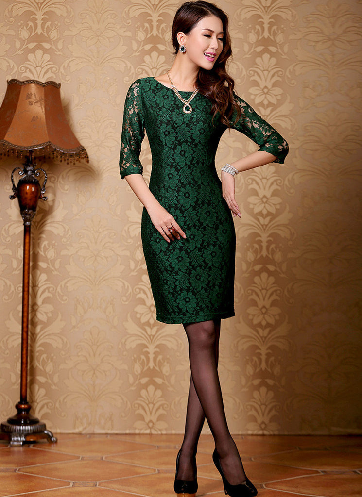 Dark green and black lace dress