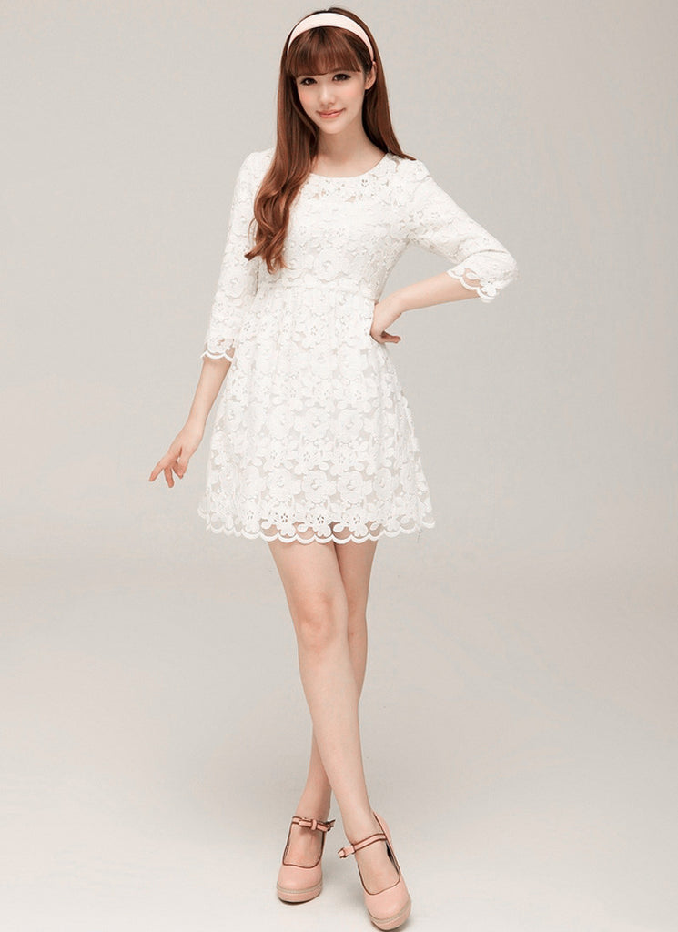 White Lace A Line Mini Dress with 3 Quarter Sleeves